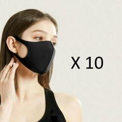 10-pack Tvättbar Munskydd Ansiktsmask Community Face Mask SVART