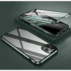 iPhone 11  Pro MAX Magnetiskt skal Härdat glas 360° skydd GRÖN