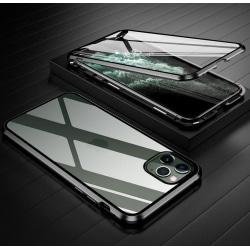 iPhone 11 Pro MAX Magnetiskt skal Härdat glas 360° skydd SVART