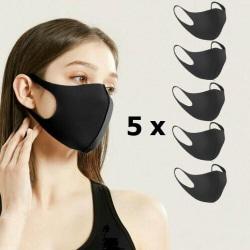 5-pack Munskydd Ansiktsmask tvättbar mask SVART