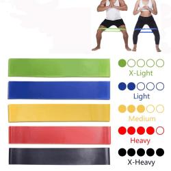 Träningsband motståndsband 5-pack med instruktioner påse yoga