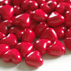 Pärlor - röda hjärtan - ca 200 stycken !!!