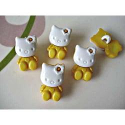 6 st Hello Kitty Knappar Gul/Vit Gul