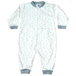 Pyjamasoverall med grå stjärnor, 74 cl White 74