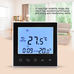Smart WIFI Programmable Thermostat Digital LCD Display Wirle black