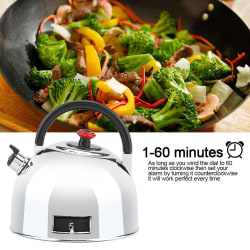 Teapot Shaped 60 Minutes Kitchen Timer Stainless Steel Mecha