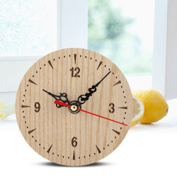 Vintage Round Wood Table Desk Wall Analog Clock for Living R 直径12cm