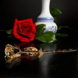 24K Guldros med Certifikat - Gold Rose - Alla Hjärtans Present