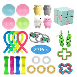 27-Pack Fidget Toys Rings Leksak Bönor Globbles Stressboll Pea