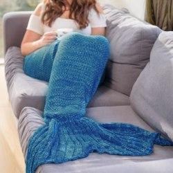 Blå Mermaid-Filt