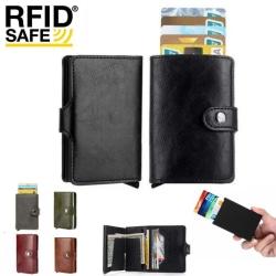 Smart RFID Korthållare -Vegan Läder- 7st kort Plånbok med Knapp Oliv