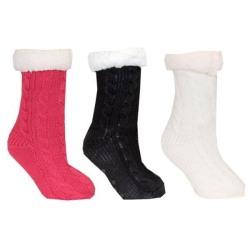 Fodrad socka med halkskydd Happy feet Vit