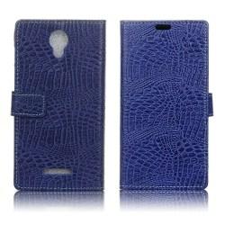 Alcatel Pixi 4 (5) 3G Fodral med krokodil textur - Blå