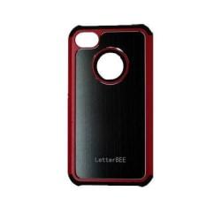 Alu-Back (Svart - Röd Kant) iPhone 4/4S Silikonskal