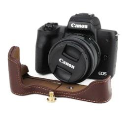 Canon EOS M50 kameraskydd äkta läder - Kaffe