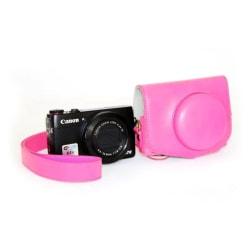 Canon PowerShot G7X MarkII Unikt läder kamera skydd - Rosa