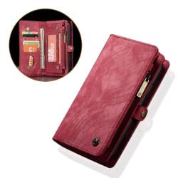 CASEME Huawei P20 mobilfodral PU läder plast plånbok - Röd