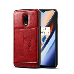 Crazy Horse OnePlus 6T leather hybrid case - Red