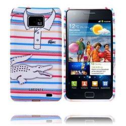 Croco Shirt (Kritstrecks/Rosa-Blå) Samsung Galaxy S2 Skal