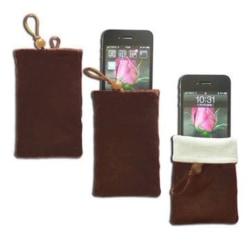 Färgad Tygpåse (Brun) för Smartphones