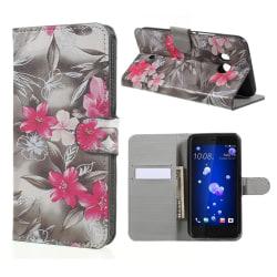 HTC U11 Fodral med ett unikt motiv - Rosa fjärilar