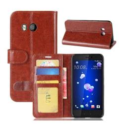 HTC U11 Läder fodral med plånbok - Brun