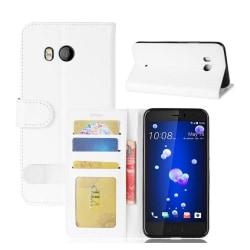 HTC U11 Läder fodral med plånbok - Vit