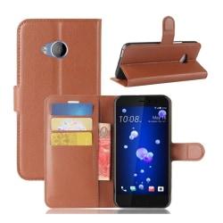HTC U11 Life Läckert skinn fodral - Brun