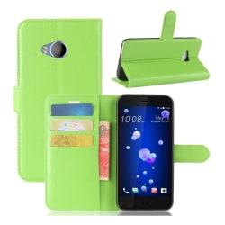 HTC U11 Life Läckert skinn fodral - Grön