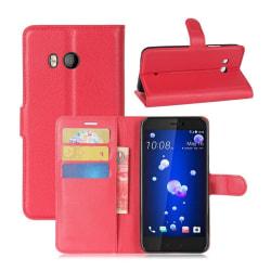 HTC U11 Skinn fodral med plånbok - Röd