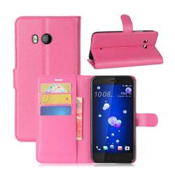 HTC U11 Skinn fodral med plånbok - Rosa