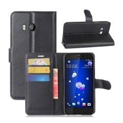 HTC U11 Skinn fodral med plånbok - Svart