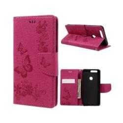 Huawei Honor 8 inpräglat plånbok läderfodral - Röd