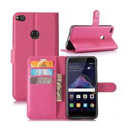 Huawei Honor 8 Lite litchi läderfodral - Varm rosa