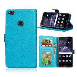 Huawei Honor 8 Lite Vikbart läder fodral - Blå