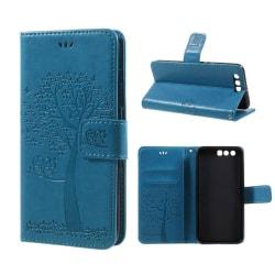 Huawei Honor 9 avtryck träduggla PU läderfodral - Blå