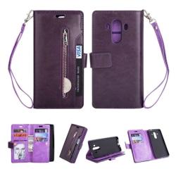 Huawei Mate 10 Pro Läder fodral med inbyggd plånbok - Lila