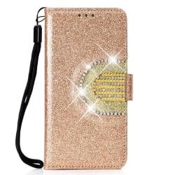 Huawei P30 läderfodral med strass dekoration - Guld