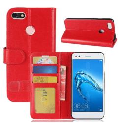 Huawei P9 Lite Mini Enfärgat fodral med plånbok - Röd