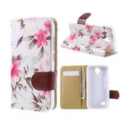Huawei Y5 blommönster läderfodral - Vit