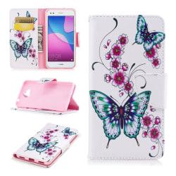 Huawei Y6 (2017) Fodral med exotiskt motiv - Två fjärilar