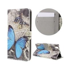 Huawei Y6 II färgglatt mönster läderfodral - Blå fjäril