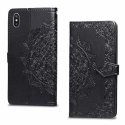 iPhone Xs Max mandala flower imprint leather flip case - Bla