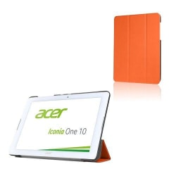 Läderfodral med Tri-fold Stativ (Orange) för Acer Iconia One