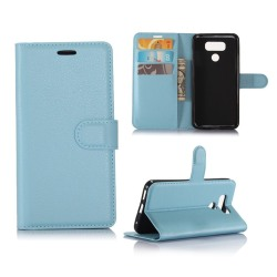 LG G6 lychee skinn läderfodral - Ljusblå