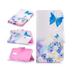 LG K10 2017 patterned flip case - Blue Butterflies and Flowe