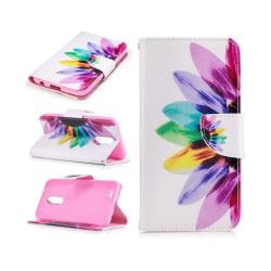 LG K10 2017 patterned PU leather flip case - Colorful Petals