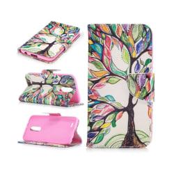 LG K10 2017 patterned PU leather flip case - Colorized Tree