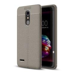 LG K10 (2018) mobilskal silikon litchi textur - Grå