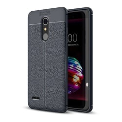 LG K10 (2018) mobilskal silikon litchi textur - Mörkblå